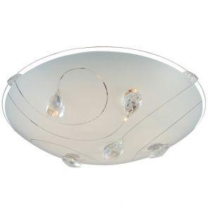 LED-Deckenleuchte - Opalglas mit Kristallmuster, Rand klar, Ø 25cm