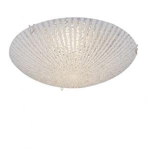 LED-Deckenleuchte, Strukturglas, Ø 25cm, warmweißes Licht
