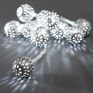 LED-Dekolichterkette, Metallbälle silber, 10 Dioden kaltweiß