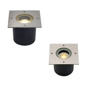 LED-Einbauleuchte mit eckiger Edelstahlblende