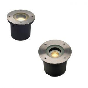 LED-Einbauleuchte mit runder Edelstahlblende