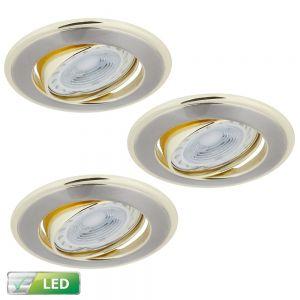 LED-Einbaustrahler 3er-Set Rund, Elemente gold, 3x GU10 5W