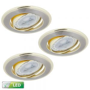 LHG LED-Einbaustrahler 3er-Set Rund, Elemente gold, 3x GU10 5W