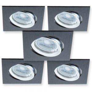 LED-Einbaustrahler 5er-Set Schwarz eckig, GU10-LED à 5 W