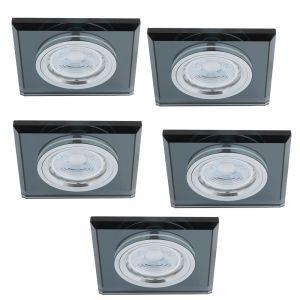 LHG LED-Einbaustrahler Glasrahmen eckig schwarz, 5er-Set GU10 5W