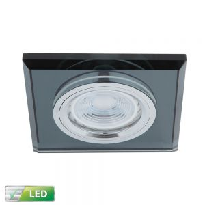 LED-Einbaustrahler Glasrahmen Eckig Schwarz, LED 1x GU10 5W