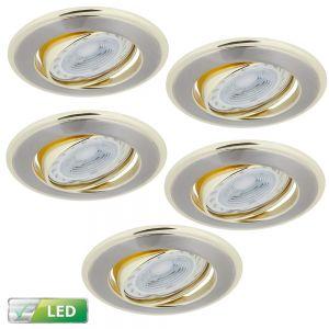 LHG LED-Einbaustrahler goldene Elementen, 5er-Set GU10 5W
