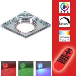 LED-Einbaustrahler mit Glasrahmen - Eckig - Silber inkl. Fernbedienung