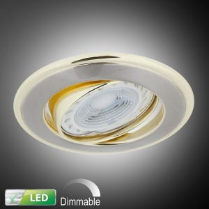 LHG LED-Einbaustrahler mit goldenen Elementen - Dimmbar, LED 1 x 5 Watt