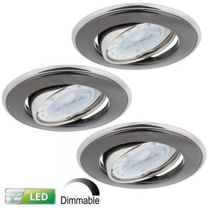 LHG LED-Einbaustrahler Nickel Graphit  3er-Set, 3 x LED GU10 5 Watt