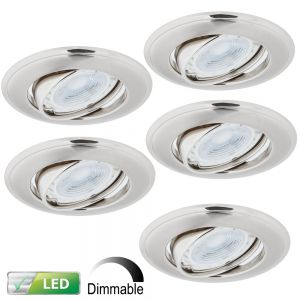LHG LED-Einbaustrahler Nickel Satin - 5er-Set