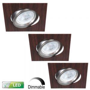 LHG LED-Einbaustrahler Wengeholz eckig, 3er-Set LED 5W, Dimmbar