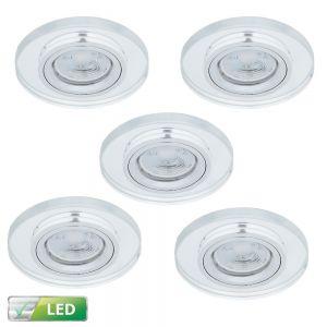 LHG LED-Einbaustrahler, Glasrahmen, rund, 5er-Set, Lichtfarbe warmweiß