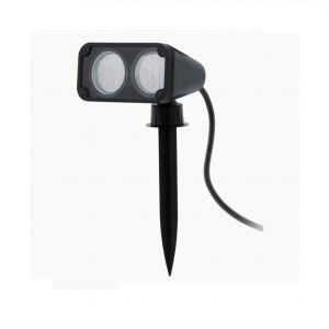 LED-Erdspießstrahler in schwarz, schwenkbar, 2-flammig