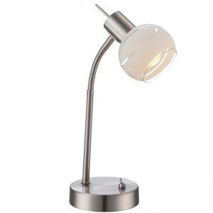LED-Flexarm-Tischleuchte, Metall mit satiniertem Dekorglas