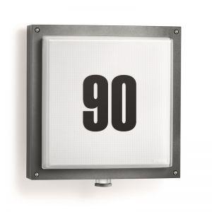 LED-Hausnummernleuchte mit Infrarot-Sensor, in anthrazit, Glas