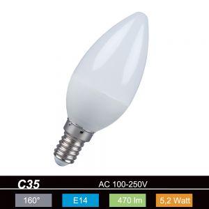 LHG LED-Kerze E14 5,2W opal 2700K 470lm nicht dimmbar