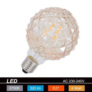 LED-Leuchtmittel E27 4W, braun-getönt, Ø9,5cm Filament