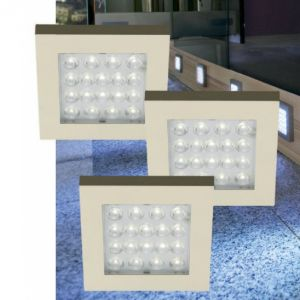 LED-Möbelleuchten 3er Set quadratisch - 1,2W LED