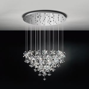 LED-Pendelleuchte Ø78cm, Blüten, 43-flammig