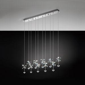 LED-Pendelleuchte 87cm lang, Blüten, 10-flammig