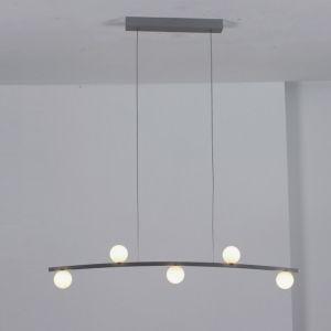 LED-Pendelleuchte in Aluminium geschliffen, Glas opal weiß
