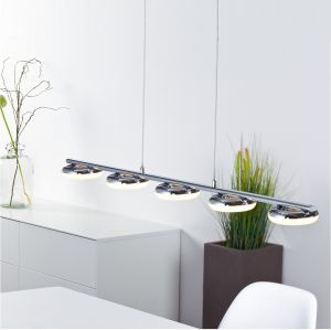 LED-Pendelleuchte in Chrom, 5x4,2Watt