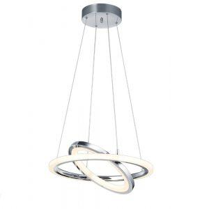 LED-Pendelleuchte Chrom, Acryl weiß, 50 cm, dimmfähig