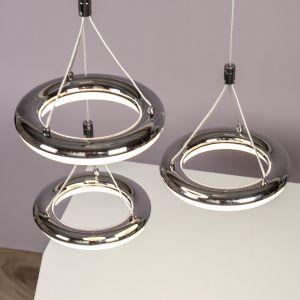 LED-Pendelleuchte Donut, 3 Ringe Chrom