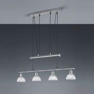 LED-Pendelleuchte Levisto, 4-flg. höhenverstellbar, Nickel-matt stahlfarbig/weiß, Nickel-matt