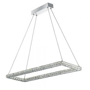 LED-Pendelleuchte, Chrom mit Kristallglas, LED 28,8 Watt