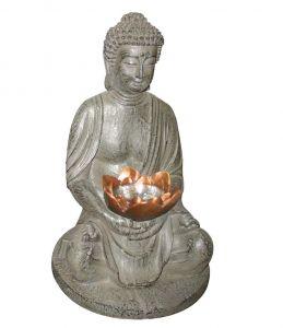 LED-Solar-Figur Budda in Stein-Optik mit  1 gelben LED