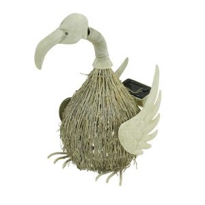 LED-Solarleuchte Vogel, Metall antik weiß, Bambus