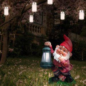 LED-Solarleuchte, Gartenzwerg mit Laterne, Gartenbeleuchtung 29cm hoch