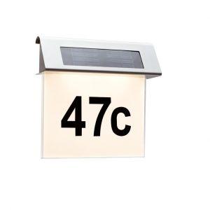 LED-Solarleuchte - Hausnummer - Edelstahl - Acryl - Leuchtdauer 3 - 5 Stunden