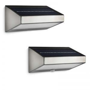 LED-Solarleuchte - Wandleuchte - Edelstahl - Kunststoff - Mit oder ohne Bewegungsmelder