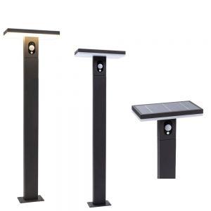 LED-Solarwegeleuchte, Bewegungssensor, schwarz, modern, 100 cm