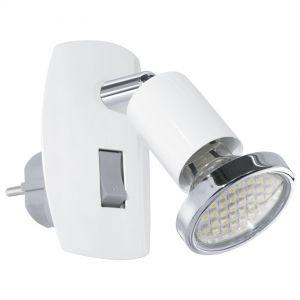 LED-Steckerleuchte, Schalter, schwenkbar, weiß weiß/chrom
