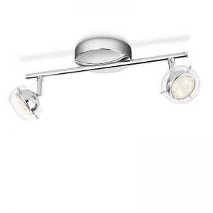 LED-Strahlerserie - Chrom - Glas -  Deckenstrahler - Inklusive LED 4 Watt  230 Lumen - 2-flammig 2x 4 Watt, 35,50 cm