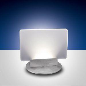 LED-Tischleuchte Betty, Aluminiumgestell, weiße Glasplatte