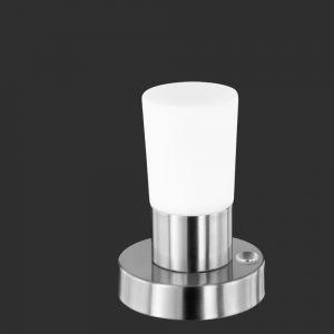LED-Tischleuchte Cristo dimmbar 4 Stufen Touch, Nickel matt 1x 4,5 Watt, nickel, poliert, Glas, weiß