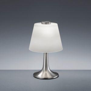 LED-Tischleuchte Monti mit weißem Glas, Nickel-matt