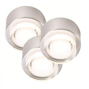 LED-Unterbauleuchte 3er Set in stahlfarbig, 3x1W LED 4000°K