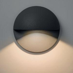 LED-Wandeinbauleuchte Tivoli rund in schwarz