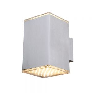 LED-Wandleuchte für Innen und Außen aus Edelstahl und klarem Acrylglas