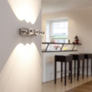 LED-Wandleuchte Lentil Chrom mit 4-fach Switch-Dimmer