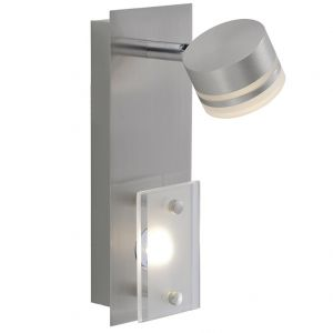 LED-Wandleuchte mit Schwenkspot stahlfarbig, 2 x 3,3 W LED