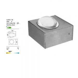 LED-Wandleuchte, Edelstahl in eckig, LED 2x 3Watt eckig, 9,00 cm, 10,10 cm, 12,40 cm