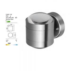 LED-Wandleuchte, Edelstahl in rund, LED 2x 3Watt rund, 10,00 cm, 9,00 cm