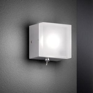 LED-Wandleuchte, Nickel-matt, Würfel, Kippschalter, warmweiß